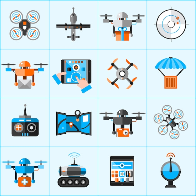 Drone icons set Vecteur gratuit