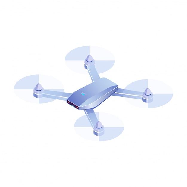 Drone Isométrique Volant Sur Fond Blanc, Illustration De Drone Quadricoptère 3d Réaliste, Vecteur D'icône De Drone Vecteur Premium