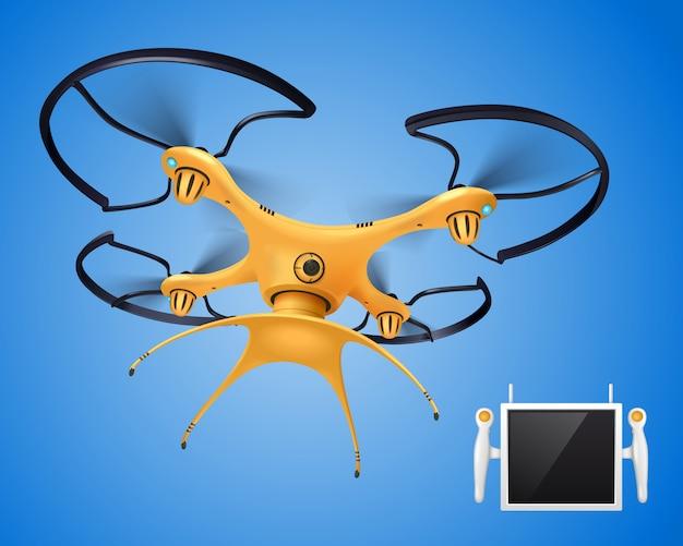 Drone Jaune Avec Objet électronique De Composition Réaliste De Télécommande Pour Différents Besoins Blogger Company Gouvernement Ou Joueurs Vecteur gratuit