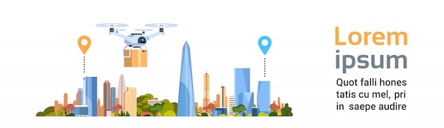 Drone de livraison avec forfait over city. bannière horizontale de modèle de concept de transport aérien rapide Vecteur Premium