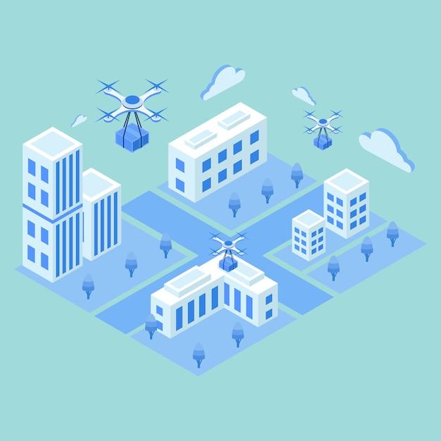 Drone De Livraison Isométrique Avec Le Concept D'emballage Vecteur Premium