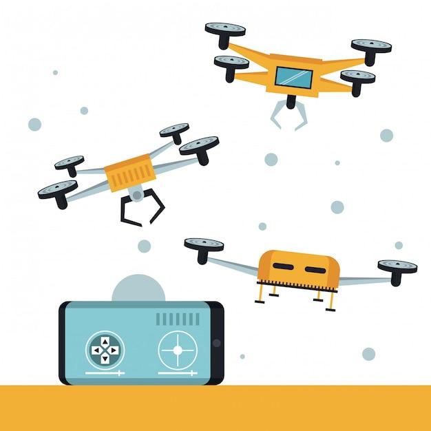 Drone de livraison et véhicule en ville Vecteur Premium