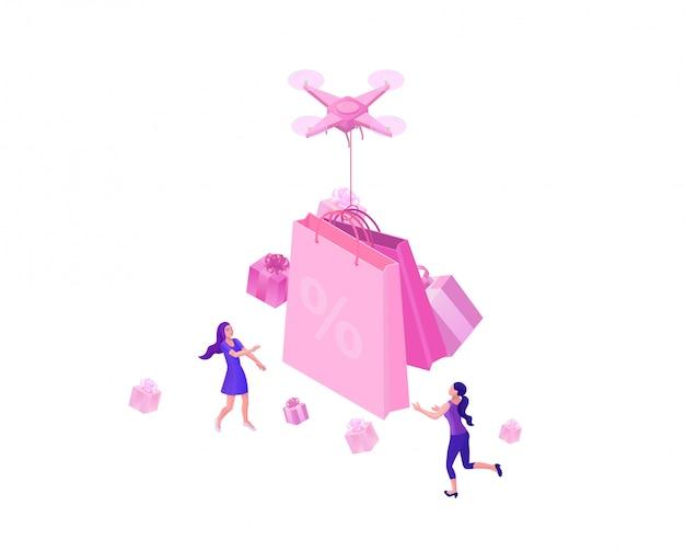 Drone livrant une boîte cadeau rose Vecteur Premium