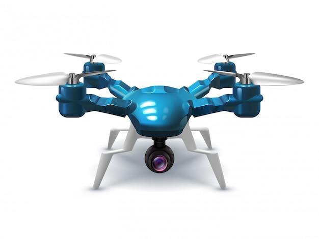 Drone Sans Pilote Réaliste Avec Caméra D'enregistrement. Copter Avec Illustration Vectorielle 3d Télécommande Vecteur Premium