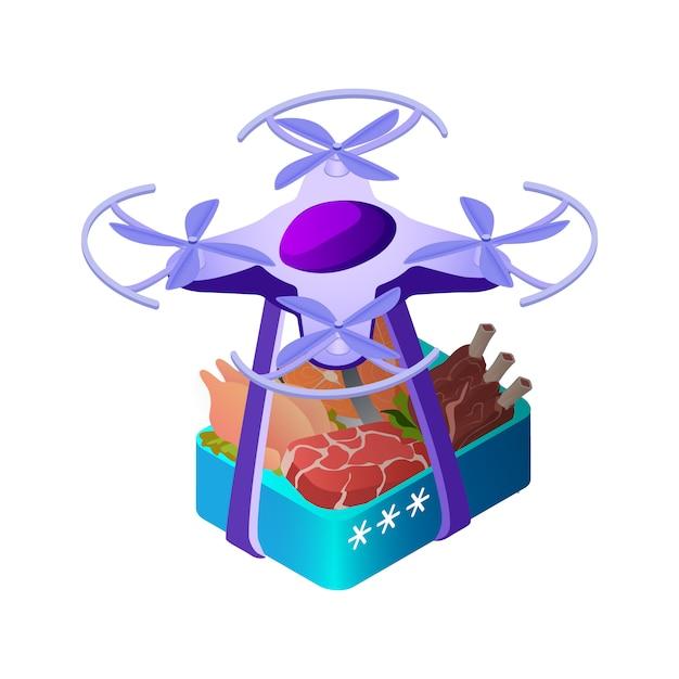 Drone Transportant Des Aliments Illustration Isométrique De Boîte Vecteur Premium