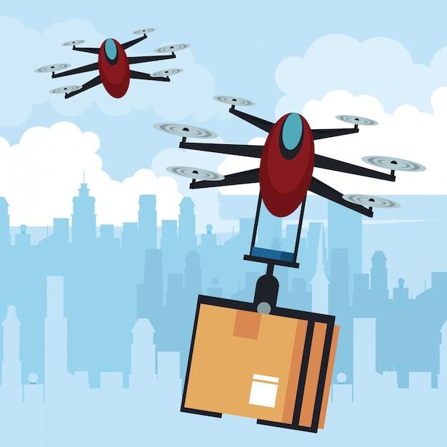 Drone volant avec boîte à la ville Vecteur Premium