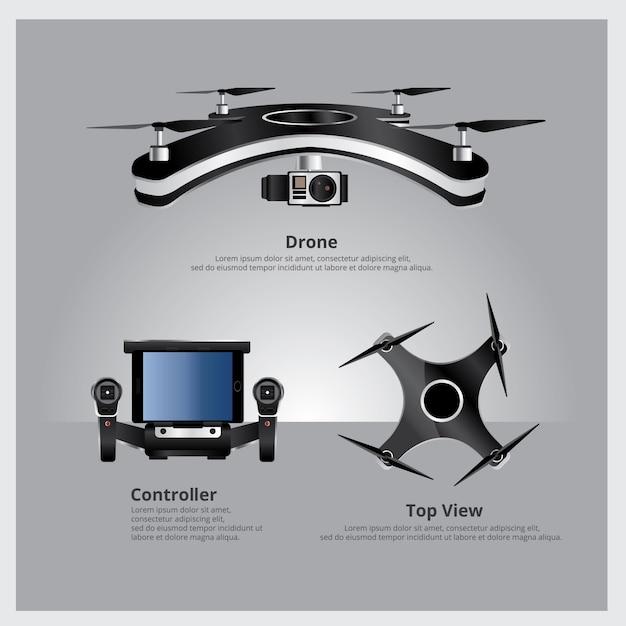 Drone, vue frontale Vecteur Premium