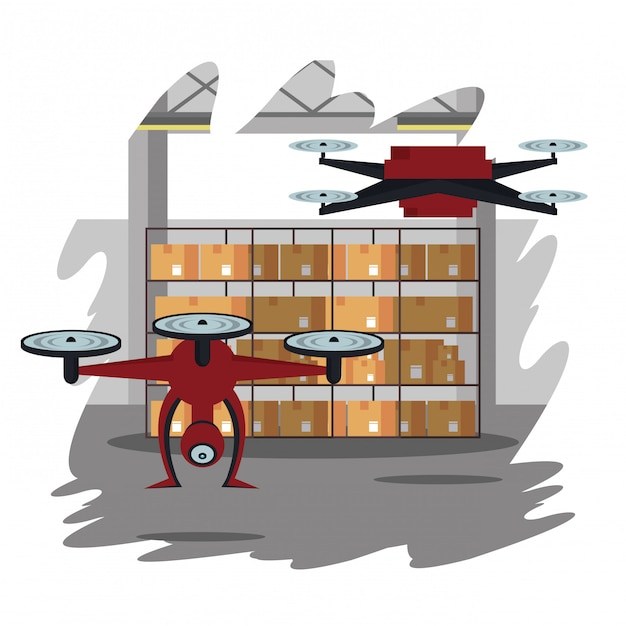 Drones dans la caricature de l'entrepôt Vecteur Premium