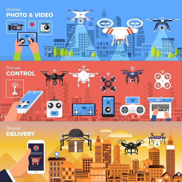 Drones d'objets vectoriels Vecteur Premium