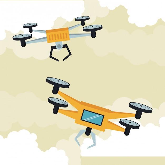 Drones volant dans le ciel Vecteur Premium