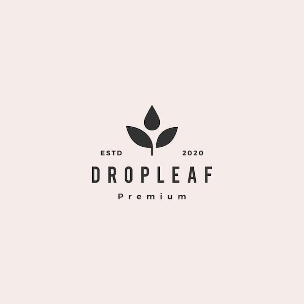 Drop Leaf Logo Icône Vintage Rétro Hipster Vecteur Premium