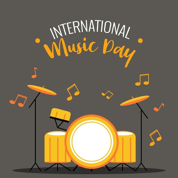 Drum journée internationale de la musique Vecteur Premium