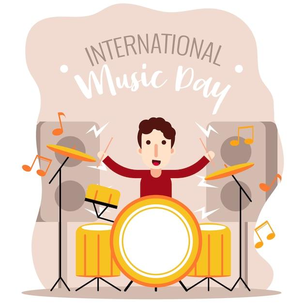 Drummer boy journée internationale de la musique Vecteur Premium