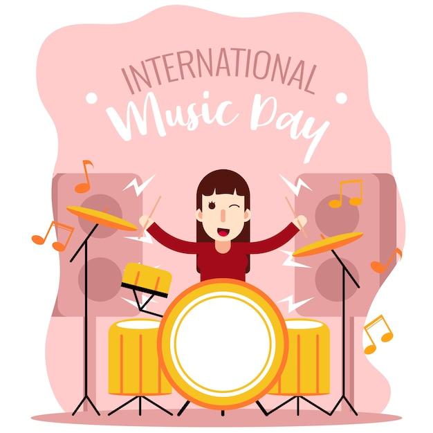 Drummer girl internationale de la musique Vecteur Premium