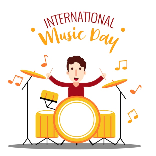 Drummer journée internationale de la musique Vecteur Premium