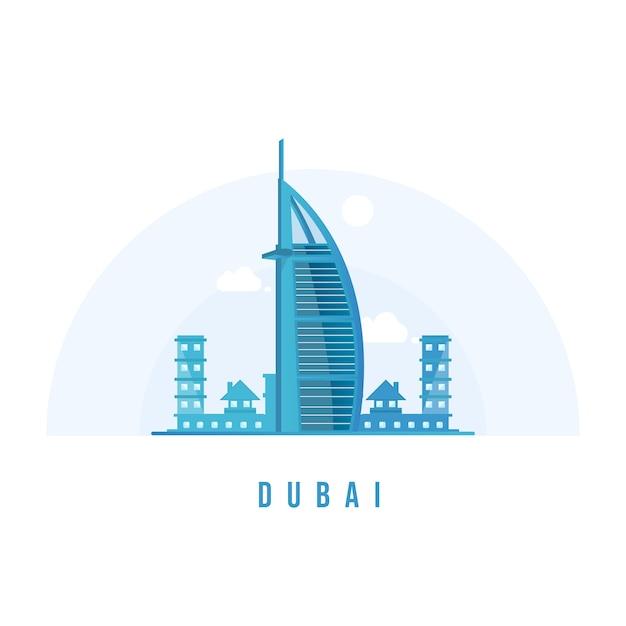 Dubai burj khalifa gratte-ciel Vecteur Premium