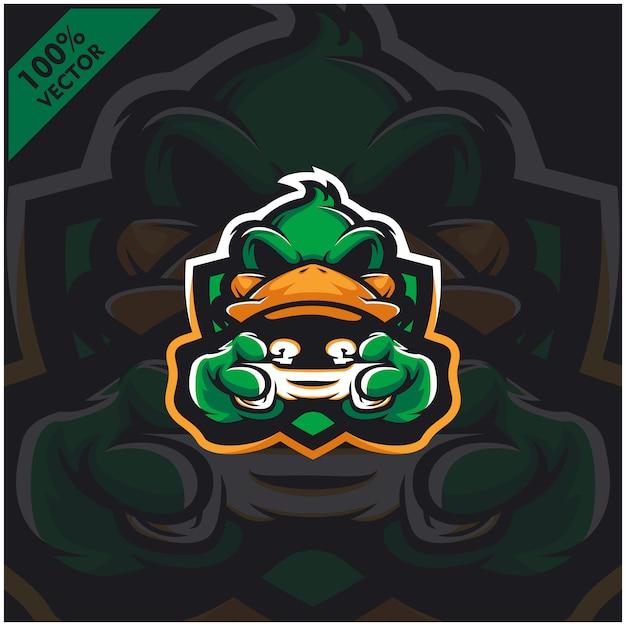 Duck Gamer Tenant La Console De Jeu Joystick. Création De Logo De Mascotte Pour L'équipe Esport. Vecteur Premium