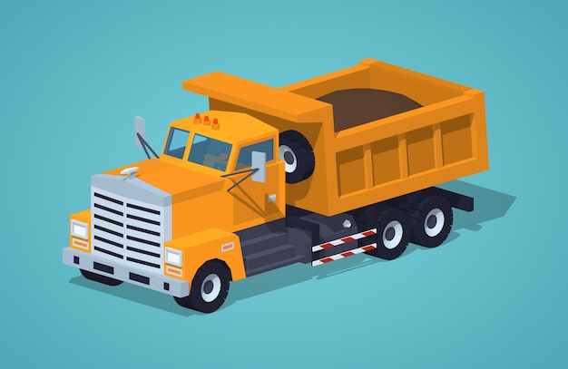 Dumper orange chargé Vecteur Premium