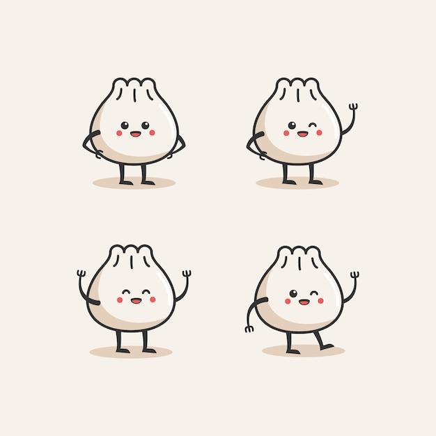 Dumpling Logo Mignon Vecteur Premium