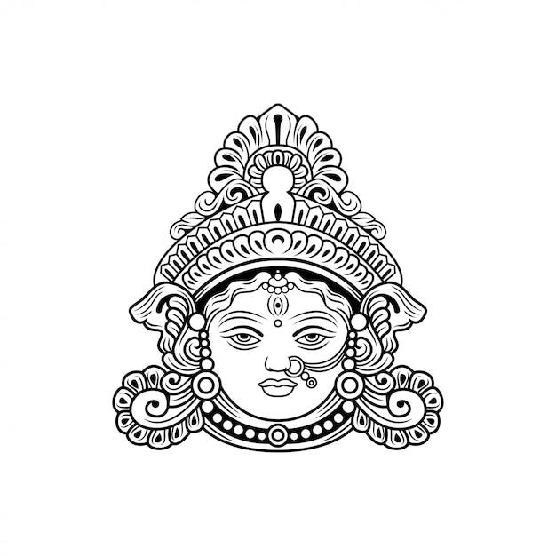 Durga Dieu D'illustration Vectorielle Inde Vecteur Premium