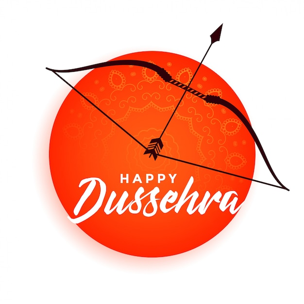 Dussehra heureux arc et flèche fond décoratif Vecteur gratuit