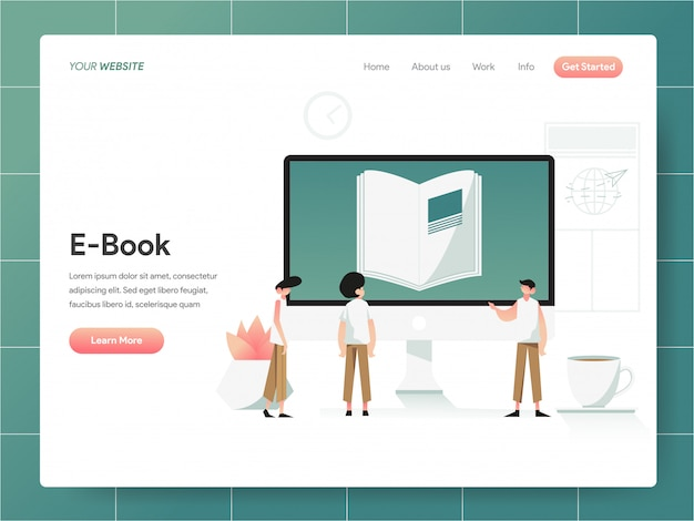 E-book bannière de la page de destination concept Vecteur Premium
