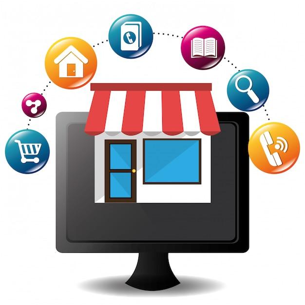 E-commerce et conception d'applications mobiles de marché. Vecteur Premium