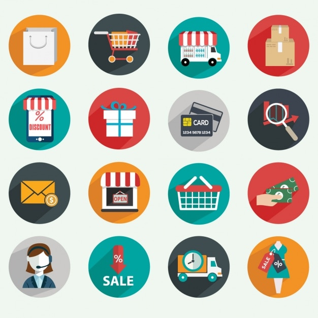 E commerce icônes Vecteur gratuit