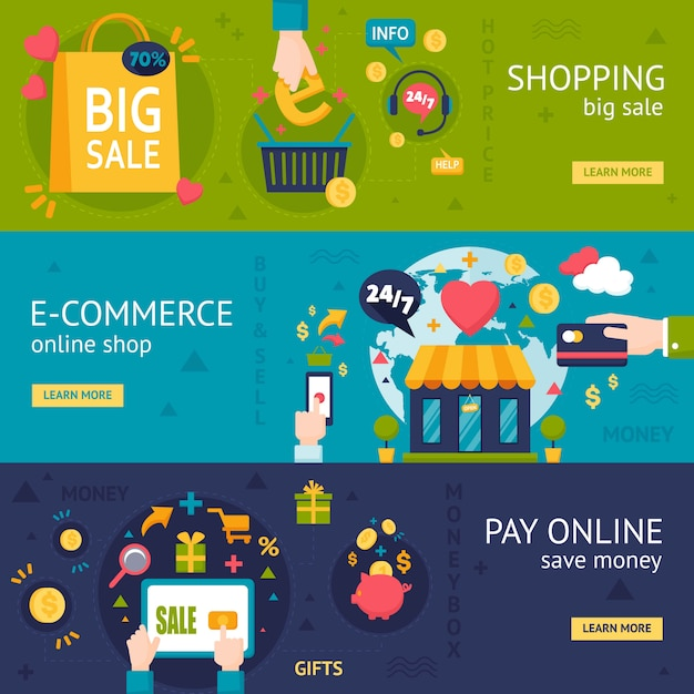 E-commerce Shopping Bannières Horizontales Vecteur gratuit