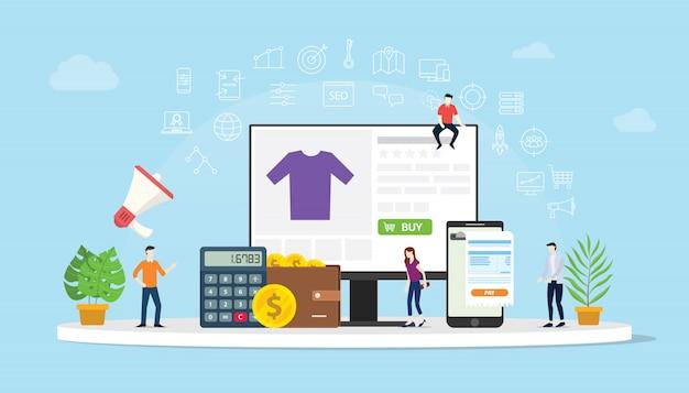 E-commerce shopping en ligne avec des gens achètent Vecteur Premium