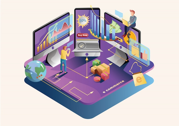E Commerce Web Flat Illustration Vecteur Premium