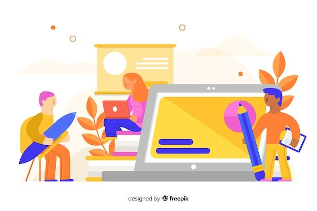 E-learning concept fond plat Vecteur gratuit