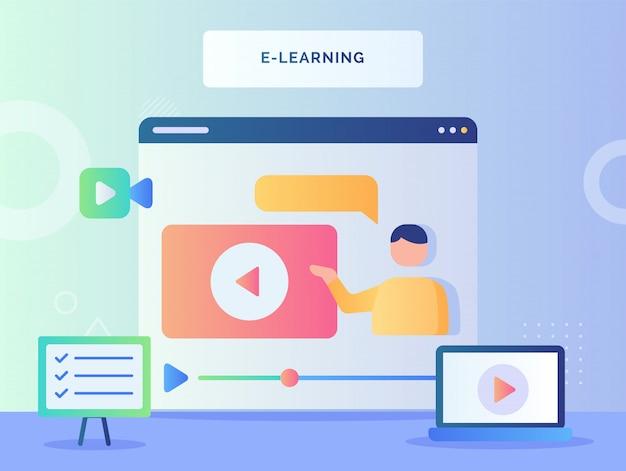 E Learning Concept Homme Parlant Dans Un Didacticiel Vidéo Sur écran D'ordinateur Avec Style Plat Vecteur Premium