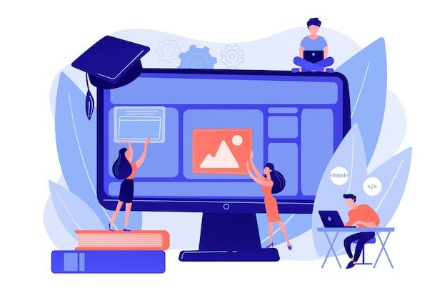 E-learning, Cours En Ligne Et Webinaires. étude Informatique à Distance Vecteur gratuit