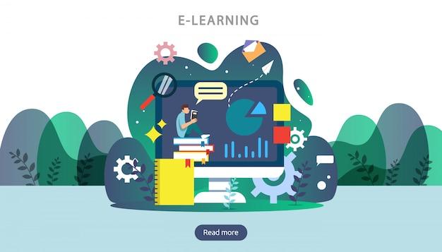 E-learning, e-book ou concept d'éducation en ligne pour bannière Vecteur Premium