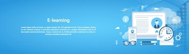 E-learning education concept en ligne bannière horizontale web Vecteur Premium