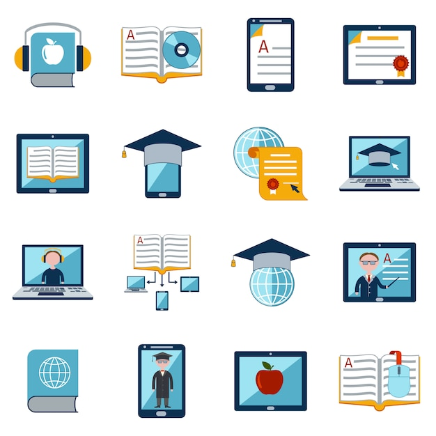 E-learning icons set Vecteur gratuit