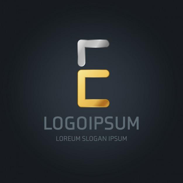 E logo or et d'argent Vecteur gratuit