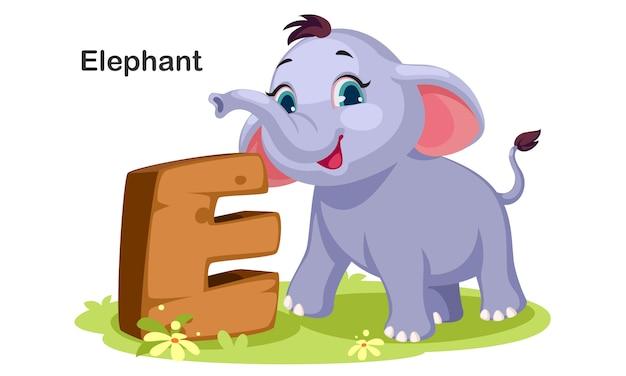 E pour éléphant Vecteur Premium