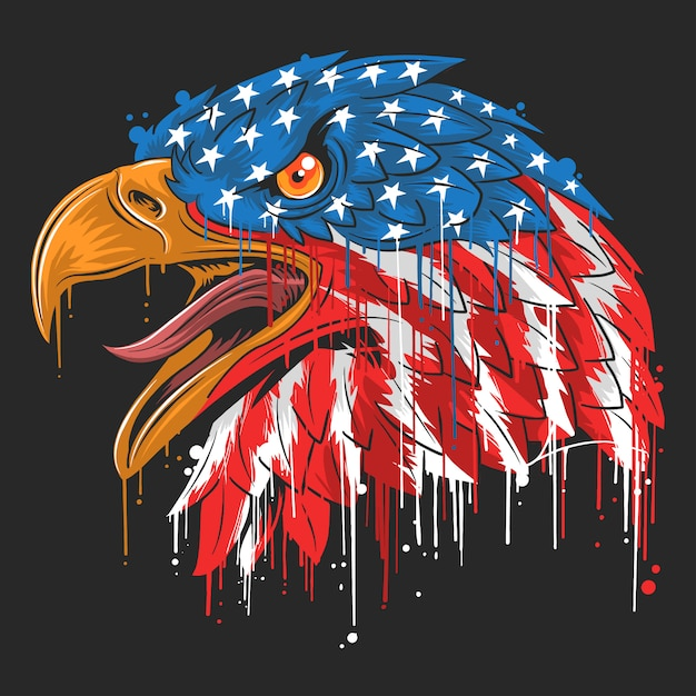 Eagle independence usa flag america Vecteur Premium