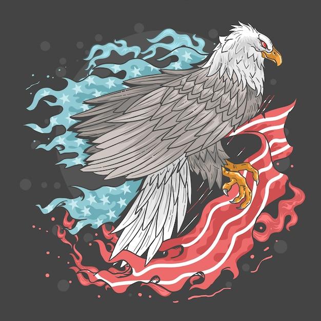 Eagle usa flag fire Vecteur Premium
