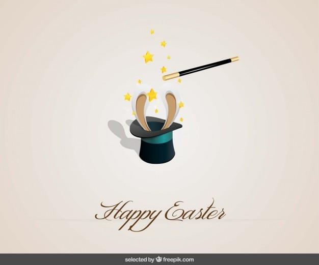 Easter background heureux avec un lapin à l'intérieur d'un chapeau Vecteur gratuit