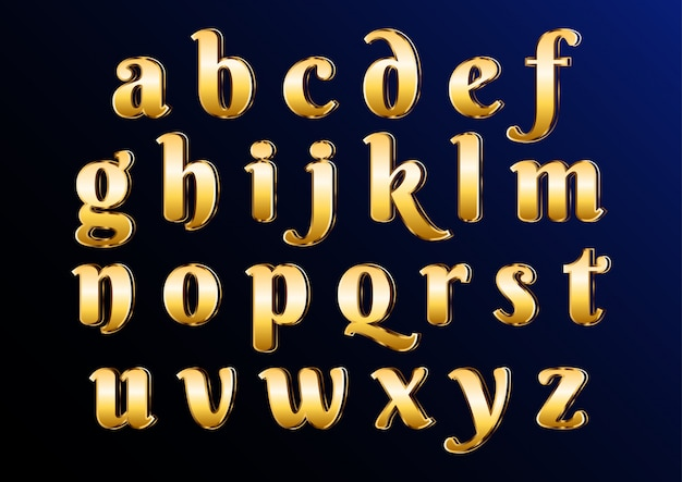 Eastern gold classic elegant lowercase alphabet avec des lettres Vecteur Premium