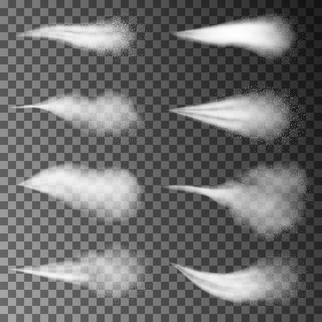 Eau Pulvérisée Fumée Blanche Ou Brouillard, Poussière Et Points, Brouillard D'atomiseur. Effet Avec Buses De Jet Ou De Jet, Design Cosmétique. éléments 3d. Vecteur Premium