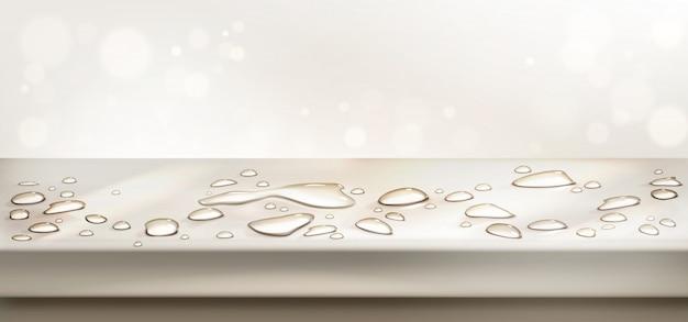 L'eau Se Répand Sur La Vue En Perspective De Dessus De Table. Comptoir Vide Avec éclaboussures Aqua Vecteur gratuit