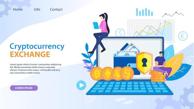 Échange de crypto-dollars dollar bitcoin ethereum Vecteur Premium