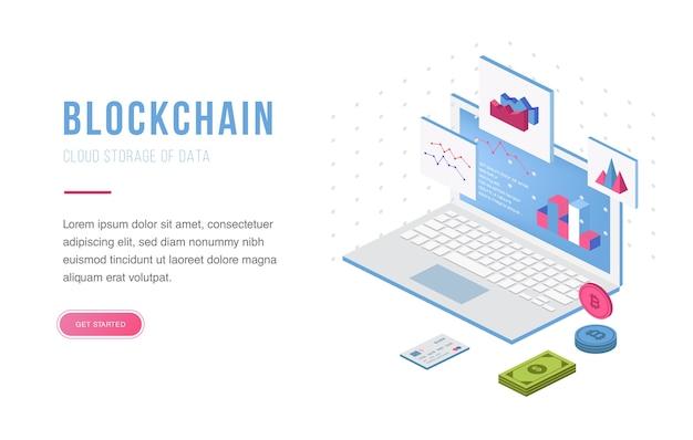 Échange de cryptomonnaie et isométrique de blockchain Vecteur Premium
