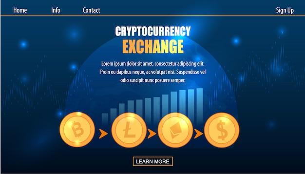 Échange de monnaie crypto-monnaie sur fiat money Vecteur Premium
