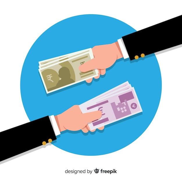Échange De Monnaie Roupie Indienne Vecteur gratuit