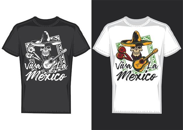 Échantillons De Conception De T-shirt Avec Illustration D'un Crâne Avec Un Chapeau Mexicain Et Une Guitare. Vecteur gratuit